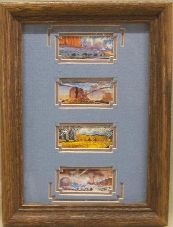 1994 Framed 4 in 1 Mini Paintings Signed G Jumbo