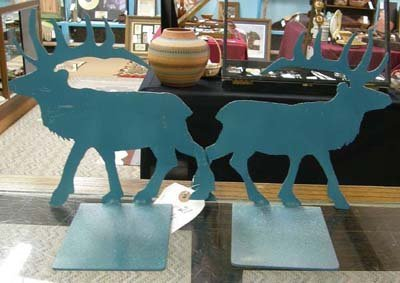 1012B: Wrought Iron Elk Bookends