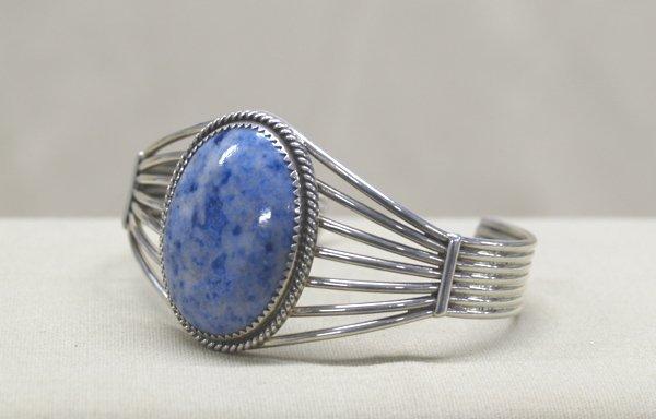 Navajo Sterling Silver & Denim Turquoise Bracelet