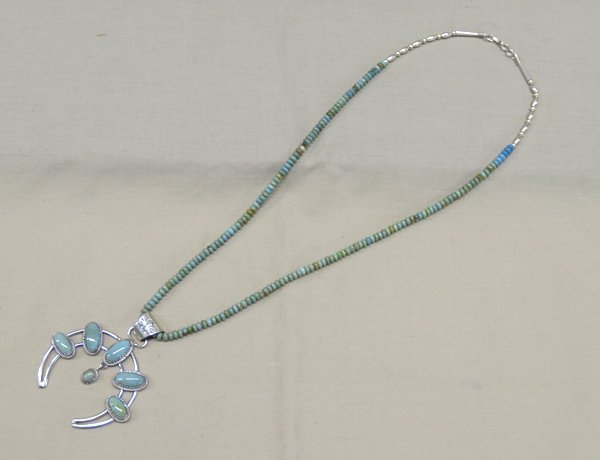 Navajo Sterling Silver & Turquoise Necklace & Naja