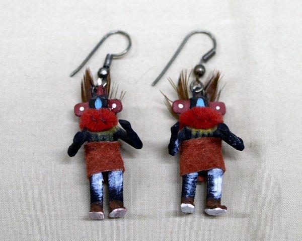 Pair Navajo Miniature Kachina Ear Rings