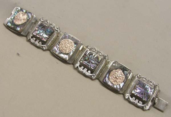 Taxco Silver Abalone Link Bracelet