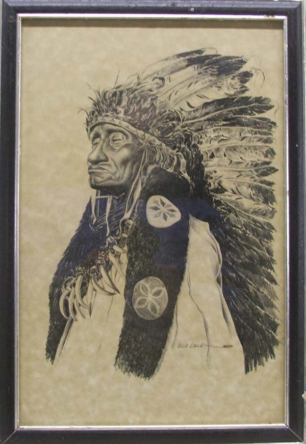 Print of An Indian Chief By Bob Dale