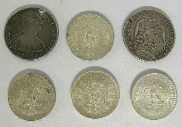 6 Mexican Silver Coins