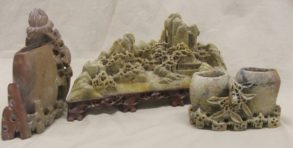 1307: 3 Carved Chinese Soapstone Sculptures