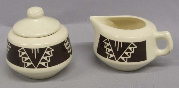 Ceramic Cream & Sugar Handpainted By Red Feather