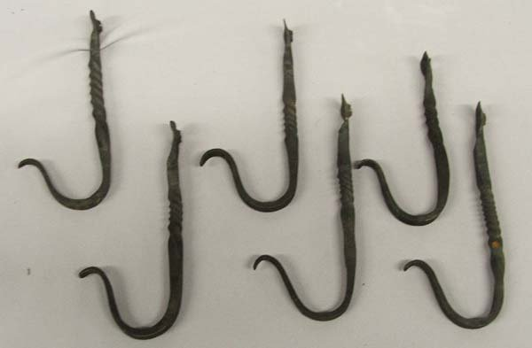 6 Hand Forged Cast Iron Wall Hooks