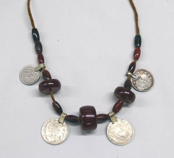 Middle Eastern Coin Amber Bone Necklace by Young