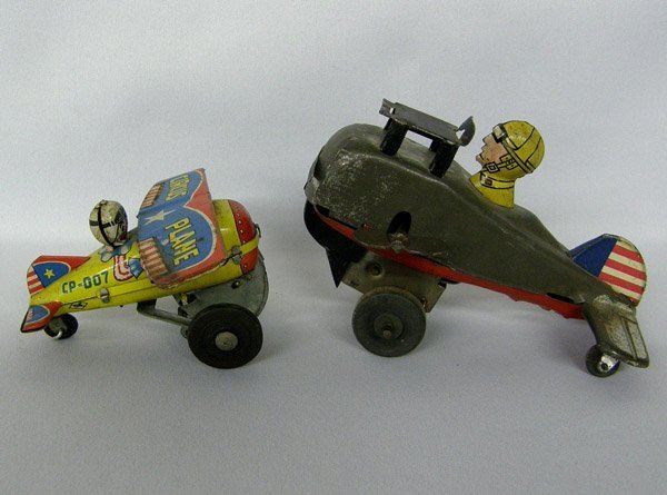 2 1950s Japanese Yone Tin Toy Airplanes
