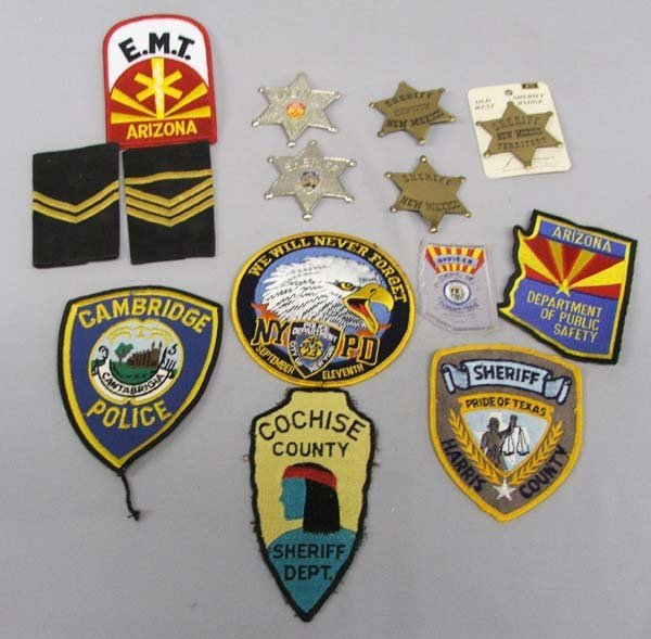 14 Policeman Fabric & Metal Badges and Insignia