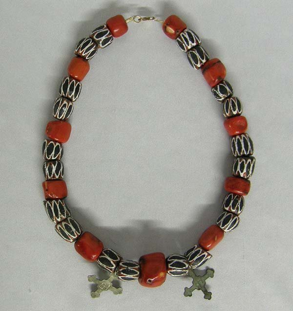Red Coral Hudson Bay Cross Necklace By Young