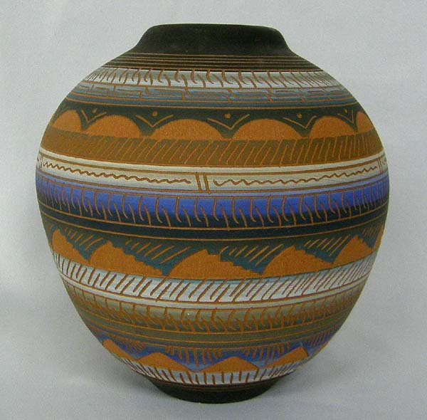 Navajo Etched Pottery Jar Hallmarked