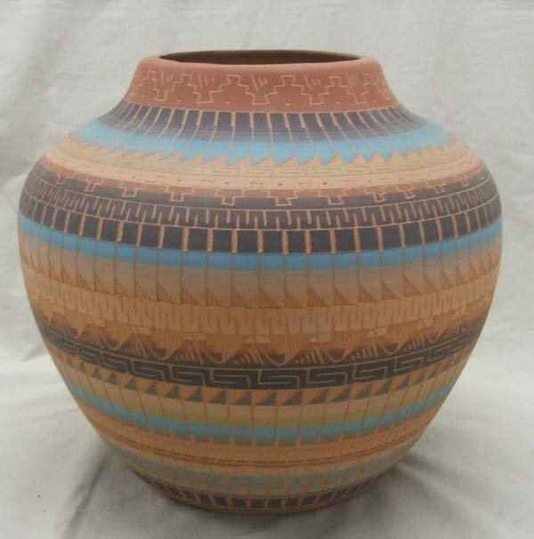 Large Navajo Carved Pottery By artist J. Watson Largo