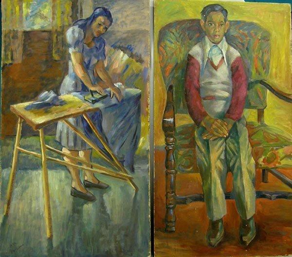 Pr 1940s Original Paintings By Santa Fe Artust Grossen