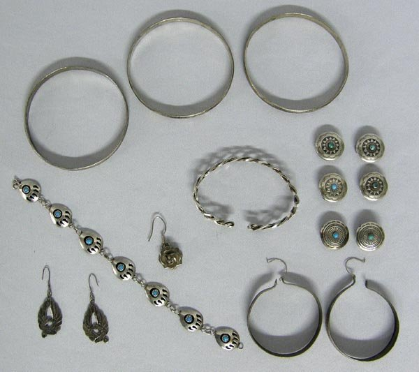 Mexican and Native American Silver Jewelry Assortment