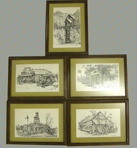 5 Pen & Ink Framed Western Prints