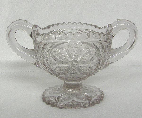 Antique Purple Glass Pedestal Sugar Bowl