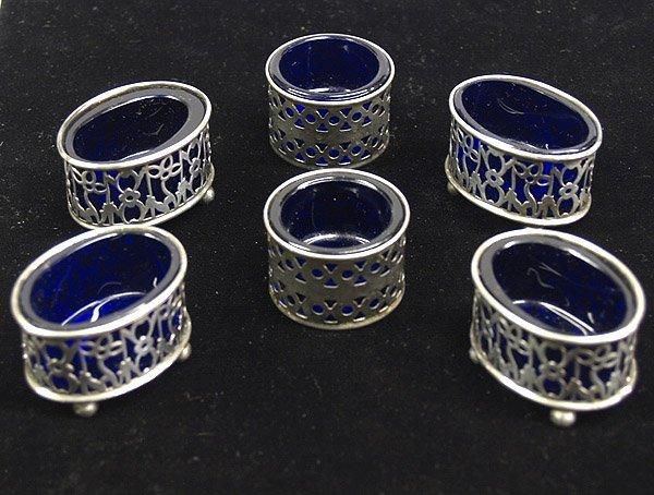 1284: 6 Vintage Silver Cobalt Blue Salts