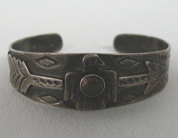 Vintage 1960s Route 66 Silver Turquoise Bracelet