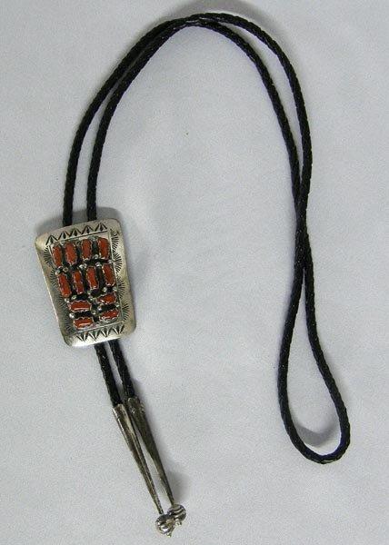 Navajo Bolo Tie w/Silver Coral Slide Hallmark ''S''
