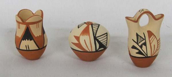 3 Miniature Jemez Pottery By Virginia Chinana