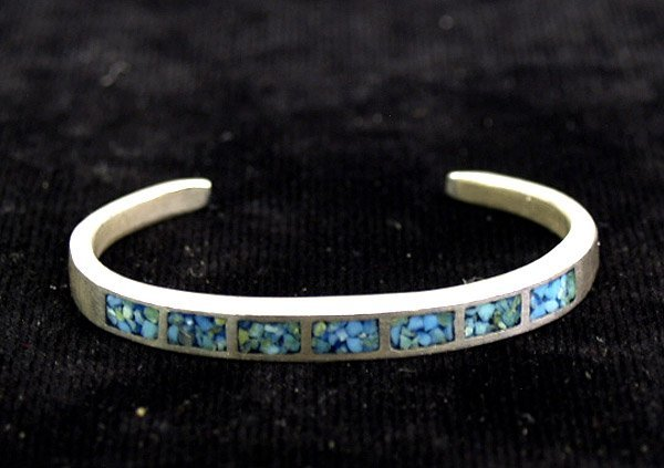 Navajo Turquoise Chip Inlay Silver Bracelet