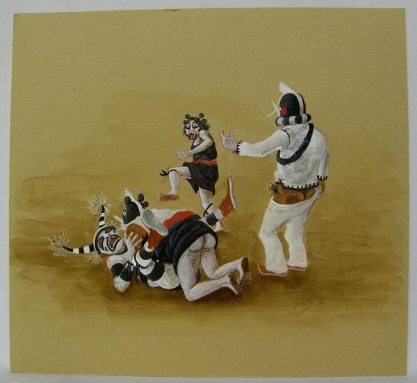 X Rated Hopi Original Watercolor Signed Neil David