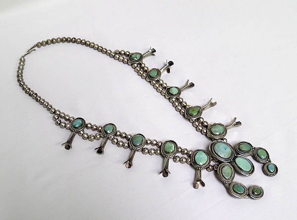 Vintage Navajo Turquoise Squash Blossom Necklace