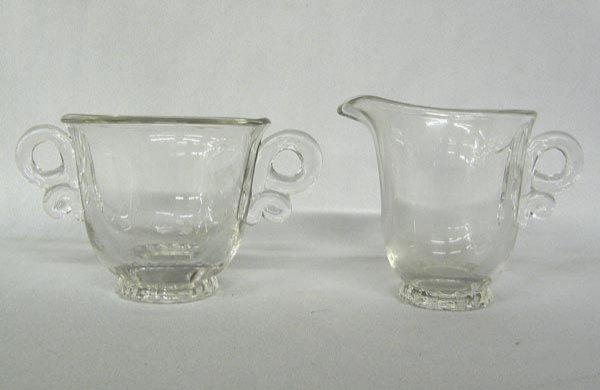 Heisey Glass Cream & Sugar Marked