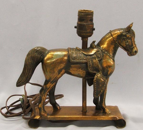 Vintage Metal Cowboy Horse Lamp