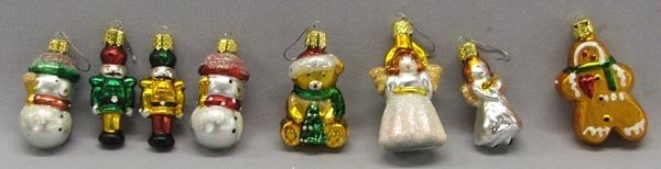 8 Vintage Hand Blown Christmas Ornaments