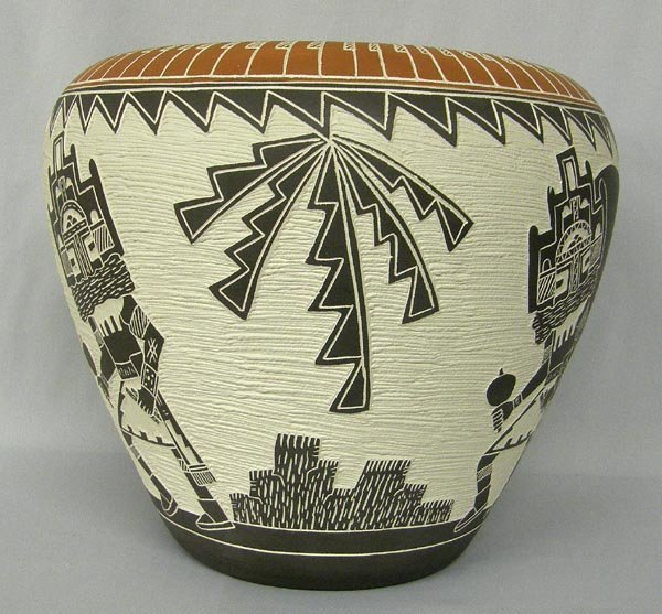 Acoma Carved Pottery Large Bowl by M & R Romero