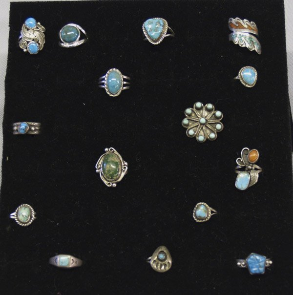 15 Navajo/Zuni Sterling Turquoise Coral Rings