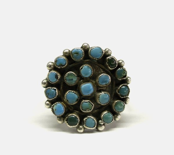 Vintage Zuni Silver & Turquoise Cluster Ring