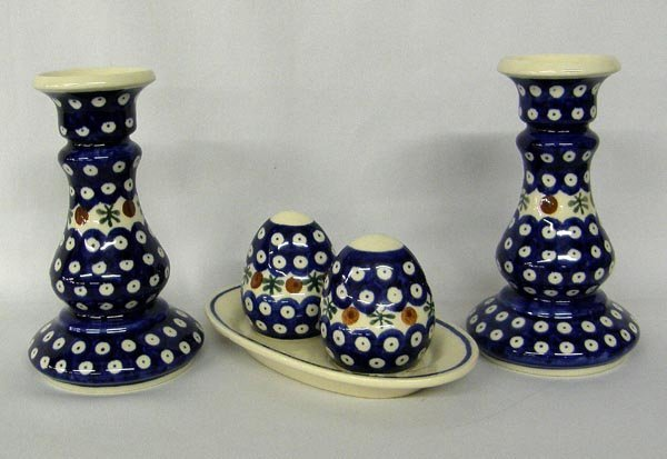 3 Vintage Polish Pottery S&P Set, Candle Holders