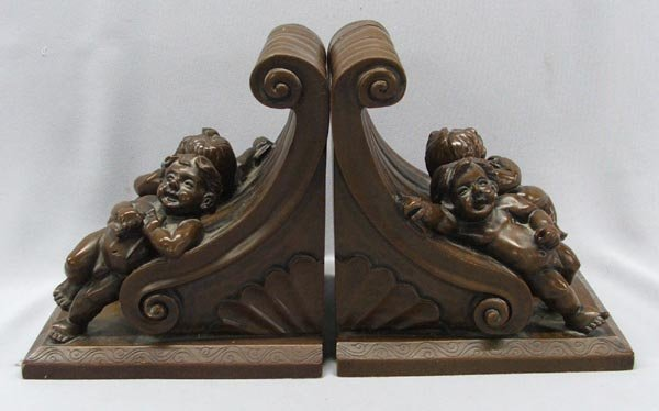 Pair Composition Cherub Bookends
