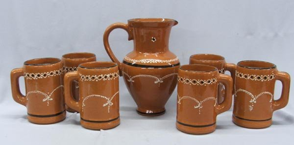 Mexican Chocolate Set, 6 Ceramic Mugs & Pitcher