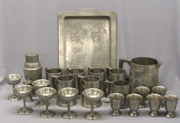 1826: 1940s Pewter Dragon Service For 6