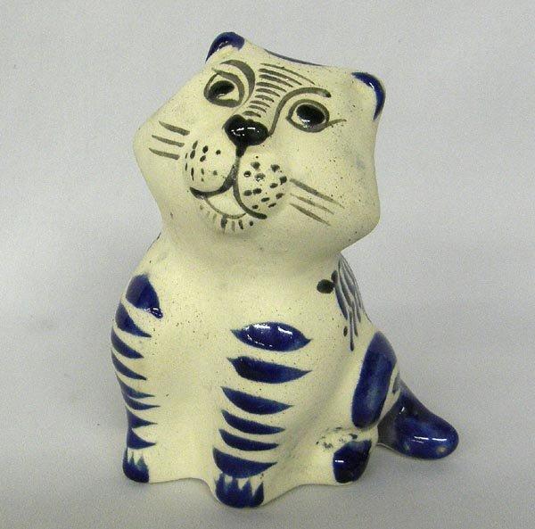 Jalisco Mexico Cobalt Pottery Cat Figure
