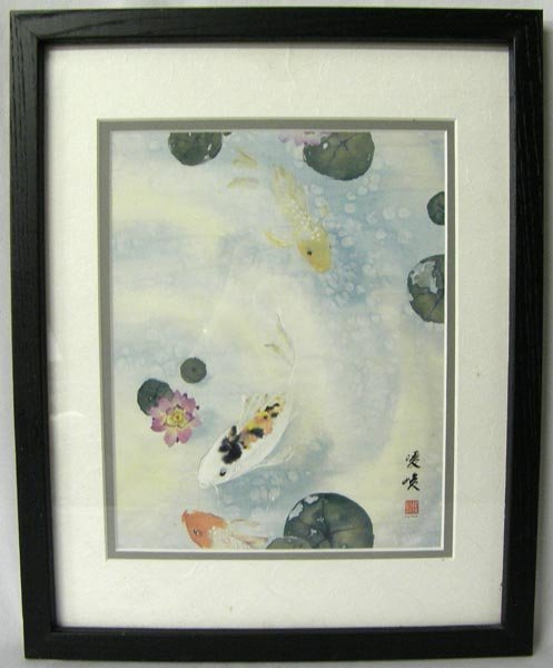 Japanese Koi Print, Signed
