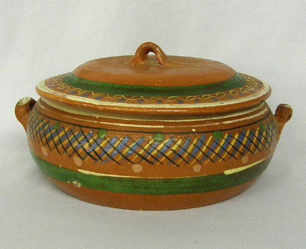 Vintage Mexican Pottery Lidded Casserole Dish