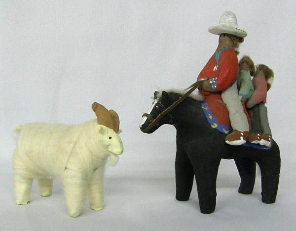 2 Navajo Folkart Statues, Sheep and Horse Riders