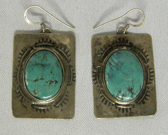1003A: Silver Turquoise Pierced Earrings By Stephen Fox