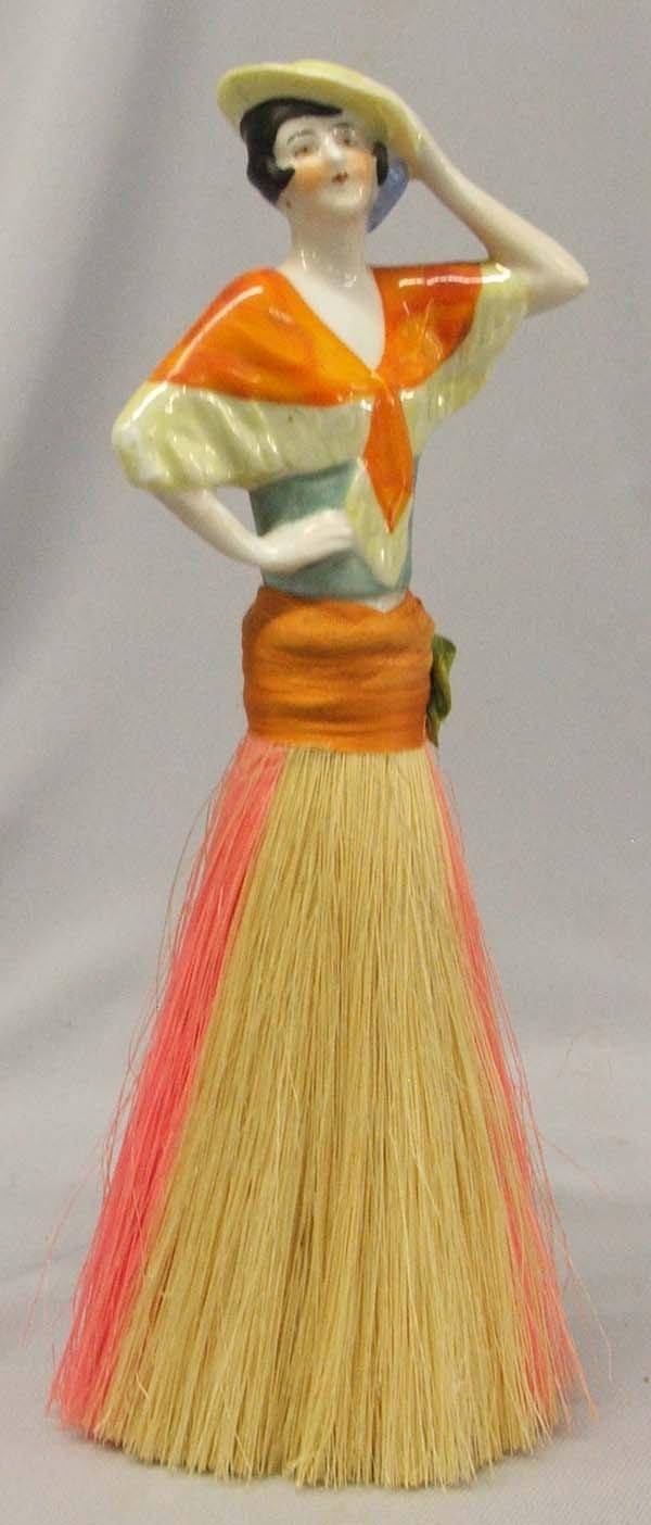 1930s Ladies Porcelain Figural Handle  Clothes Brush