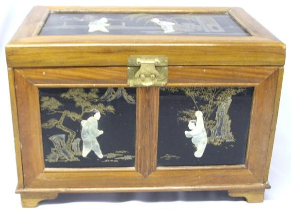 Japanese Musical Jewelry Box Wood Jade & Ivory