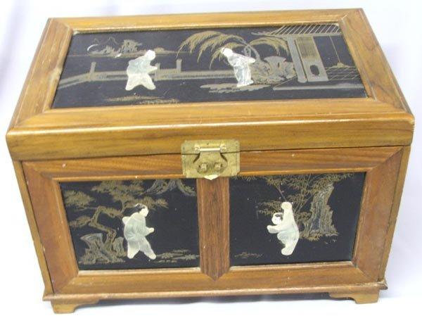 Japanese Musical Jewelry Box Wood Jade & Ivory - 2