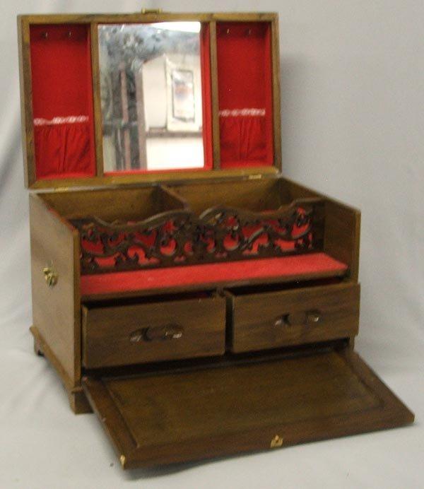 Japanese Musical Jewelry Box Wood Jade & Ivory - 3