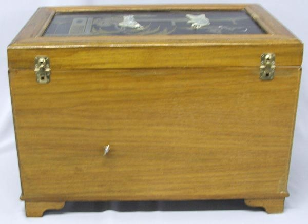 Japanese Musical Jewelry Box Wood Jade & Ivory - 4