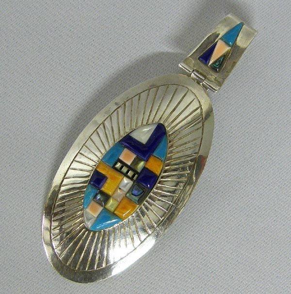 Navajo Made Multi-Stone Sterling Silver Pendant