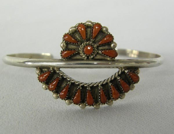 Zuni Sterling Silver & Coral Bracelet by Natewa
